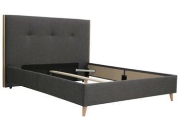 Lit scandinave 160x200 cm noir charbon et bois clair CLOE