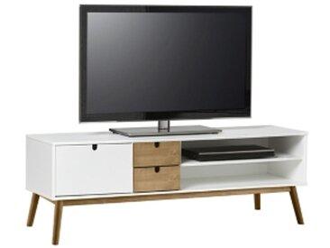 Meuble TV scandinave TEODOR Blanc/pin massif