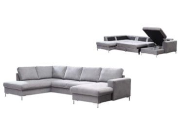 Canapé grand angle convertible avec coffre LILLY tissu Gris clair