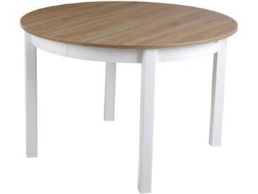 Table ronde avec allonge RUBEN Blanc/chêne sonoma