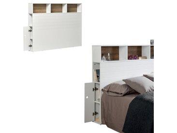 Tête de lit avec rangements Fonds de niches coloris chêne PABLO Coloris blanc