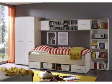 Chambre junior complète COMPLETO - 4 meubles Imitation chêne et blanc