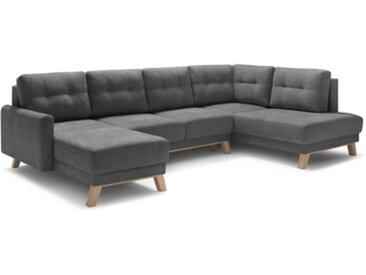 Canapé d'angle gauche panoramique BALIO convertible coffre gris foncé