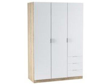 Armoire 3 portes et 3 tiroirs ZOA Blanc et chêne
