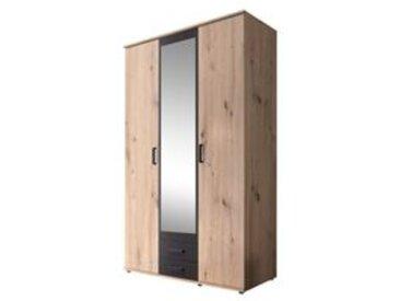 Armoire 3 portes et 2 tiroirs ARTY imitation chêne et gris Avec penderie et lingère