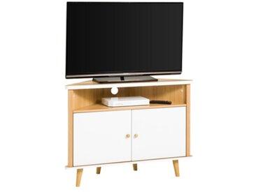 Meuble TV d'angle scandinave IVAR Chêne et blanc