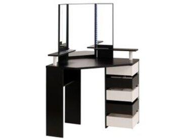 Coiffeuse avec LED et multi rangements JOLY noir et blanc