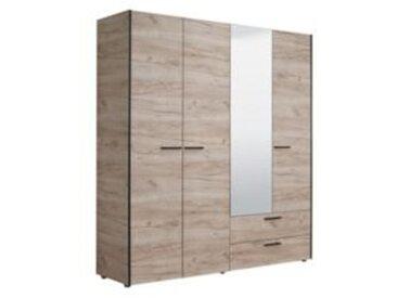 Armoire 4 portes et 2 tiroirs imitation chêne ANTAO avec penderie et lingère