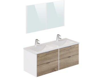 Meuble de salle de bain 120 cm BERMUDES Blanc et imitation chêne