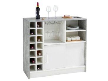 Table bar SHAKER Imitation béton et blanc