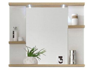 Miroir salle de bain avec 3 tablettes et LED PALAOS imitation chêne