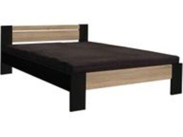 Lit + matelas + sommier VEGETA chêne et noir 140x200 cm