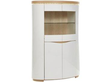 Meuble bar 2 portes ELLIPSE placage chêne/blanc laqué