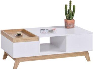 Table basse scandinave CLEO blanc/imitation chêne