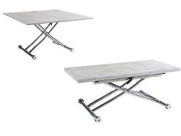 Table relevable 2 en 1 LILIAN Imitation béton et chrome