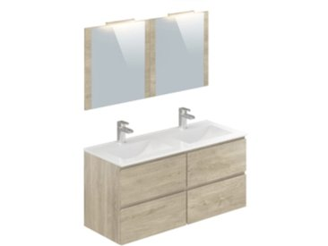 Meuble de salle de bain 120 cm FIDJI Imitation chêne