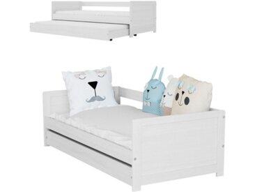 Lit banquette + tiroir lit ADELIE coloris pin blanchi 2x90x200 cm Bois massif