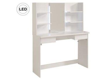 Coiffeuse multi rangements BLUSH blanc + miroir et led