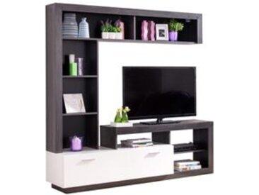 Meuble TV GLEN Blanc et imitation bois noir
