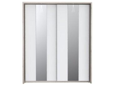 Armoire 2 portes coulissantes avec LED SAINT TROPEZ imitation chêne et blanc