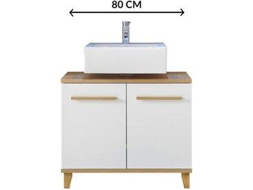 Meuble sous vasque 80 cm PALAOS scandinave imitation chêne et blanc