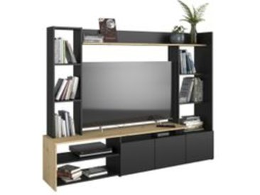 Mur TV HELOW Imitation chêne et noir