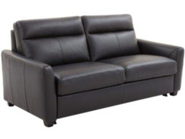 Canapé convertible 3 places EDWIN cuir et croûte cuir noir