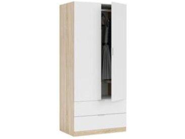 Armoire 2 portes 2 tiroirs LINEA Imitation chêne et blanc