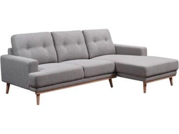 Canapé d'angle méridienne droite SUNNY Tissu gris clair