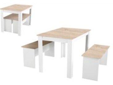 Table à manger + 2 bancs PASTA Blanc et imitation chêne