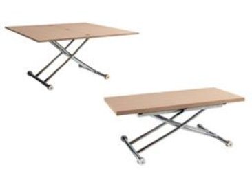 Table relevable 2 en 1 LILIAN Imitation chêne et chrome