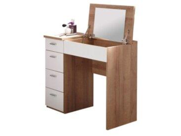 Coiffeuse bureau 4 tiroirs  REDLIPS chêne et blanc