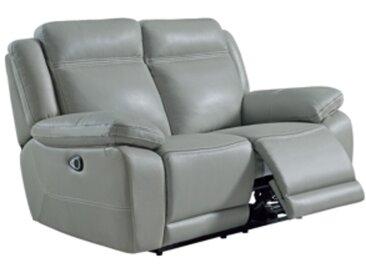 Canapé 2 places relax électriques SUNDAY cuir et PU gris