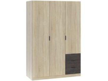 Armoire 3 portes + 3 tiroirs chene et noir effet rouille - Style industriel AYALA