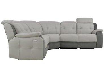 Canapé d'angle 2 relax électriques CARAVELLE II cuir, croûte cuir micro gris