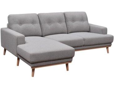 Canapé d'angle méridienne gauche SUNNY Tissu gris clair