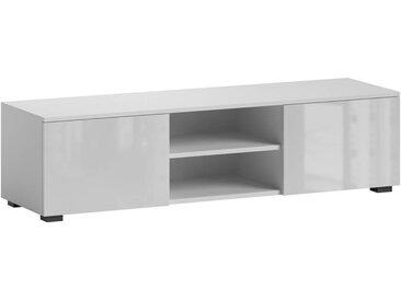 Meuble TV avec rangement blanc brillant 140 x 36,5 x 40 cm