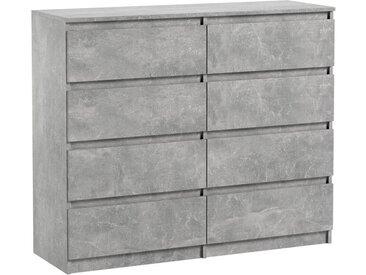 Commode 8 tiroirs Pari 8 gris 99,5 x 120 x 35 cm