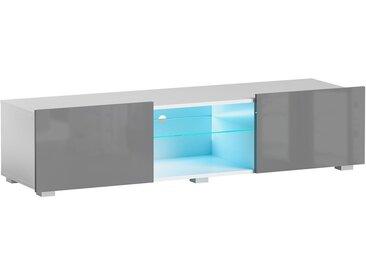 Meuble TV Focus II blanc/gris brillant 43 x 150 x 35 cm