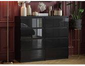 Commode 8 tiroirs Pari 8 noir laqué 99,5 x 120 x 35 cm