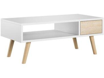 Table basse Juliette blanc et chêne sonoma 40 x 80 cm