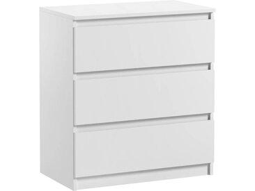Commode 3 tiroirs Pari 3 blanc mat 70 x 40 x 76 cm