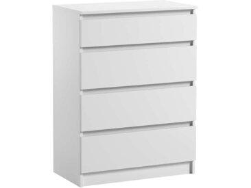 Commode 4 tiroirs Pari 4 blanc mat 97 x 70 x 40 cm