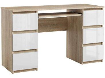 Bureau Jaris chêne sonoma et blanc brillant 130 cm 6 tiroirs