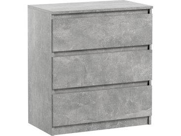 Commode 3 tiroirs Pari 3 grise 70 x 40 x 76 cm
