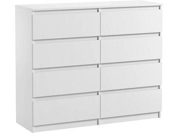 Commode 8 tiroirs Pari 8 blanc mat 99,5 x 120 x 35 cm