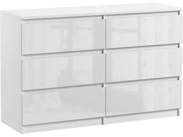 Commode 6 tiroirs Pari 6 blanc laqué 76 x 120 x 35 cm