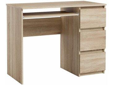 Bureau informatique avec 3 tiroirs Heini chêne sonoma 76 x 90 x 50 cm