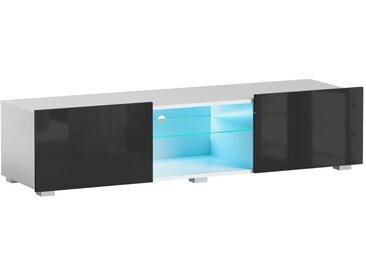 Meuble TV Focus II blanc/noir brillant 43 x 150 x 35 cm