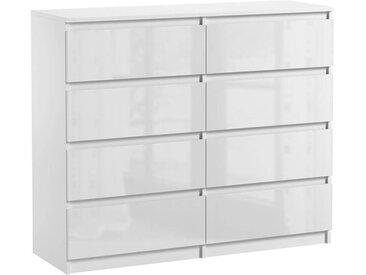 Commode 8 tiroirs Pari 8 blanc laqué 99,5 x 120 x 35 cm
